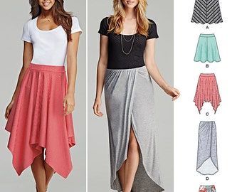 Simplicity Pattern 1201 Misses' Pull-On Knit Skirts with Length Variations