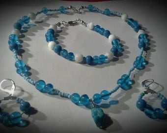 Handcrafted Turquioce Blue Glass w/ Mother of Pearl