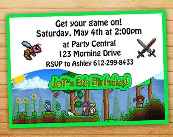 Terraria Birthday invitation card Digital Download