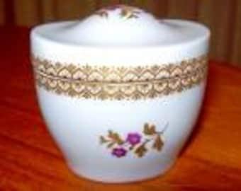 Vintage Royal Worcester Filigree Gold with Fusha Floral Design Covered Trinket Box - # 3850