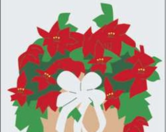 Poinsettia Handcrafted Applique House Flag