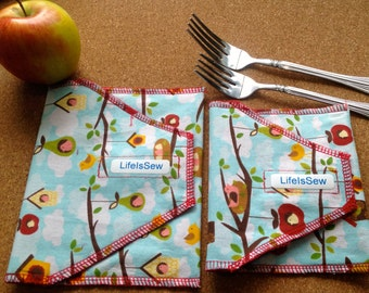 Reusable Cloth Snack Bag: Apples and Birdhouses with Red Nylon- Medium
