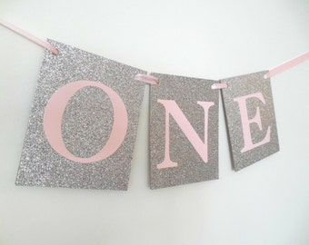 One Banner Girl First Birthday Banner One Highchair Banner One Photo Prop Silver Pink Party Winter Onderland First Princess Party One Decor