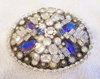 Handmade Belt Buckle with Clear, Sapphire Blue and AB Rhinestones. Vintage Jewelry. Stunning!