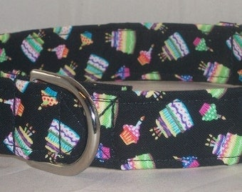 Birthday dog collar, happy birthday dog collar, cupcake dog collar, martingale dog collar, buckle dog collar, dog gifts,dog collar and leash