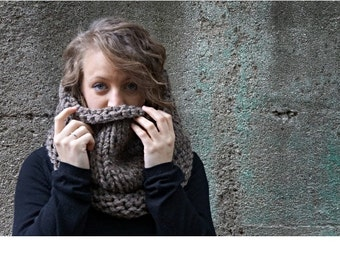 No-Nonsense Neckwarmer - Extra thick cowl, chunky knit, bulky knit snood, extra large cowl