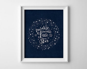 "INSTANT DOWNLOAD 8X10"" printable digital art file - Twinkle twinkle little star - Navy blue - stars - Nursery - Typography"