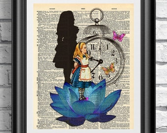 Art print on dictionary book page Alice in Wonderland. Artwork the blue lotus on antique book page print. Clock and butterflies wall hanging