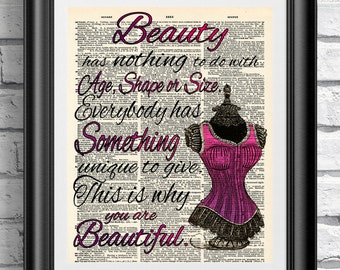 Beauty self confidence glamour quotation on antique dictionary book page. Wall decor 8x10 on vintage old paper Wall hanging Bedroom Bathroom