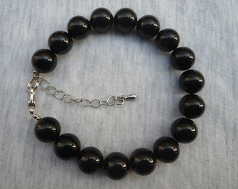 Black Pearl Bracelet,Glass Pearl  Bracelet, Wedding Jewelry, Black  Jewelry,Bridesmaid Bracelet,