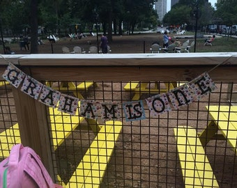 Graham is 1 banner~Dog birthday party banner