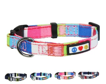 Polyester Small Dog Collar 5/8 Inch  Pink, White, Blue and Green