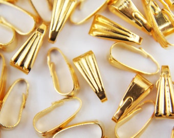 Clip on Bails - 10 x gold plated bails