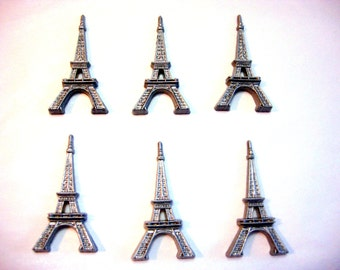 Paris Eiffel Tower Embellishments France for Decoden Flat Backs Set of 6 French