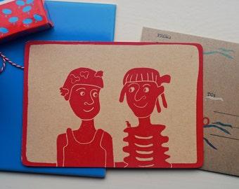 Kaart met envelop, vriendinnen, post card with envelope, girlfriends, Postkarte mit Briefumschlag, freundinnen