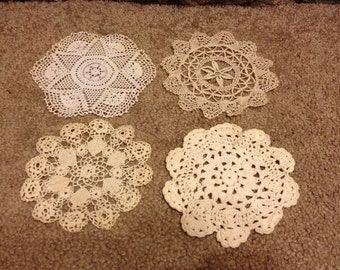 Vintage hand made crocheted thread doilies x 4