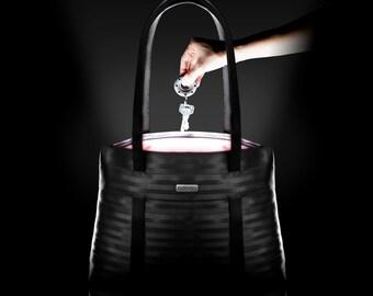 Convertible seatbelt bag with integrated light inside , tote bag, crossbody bag, backpack