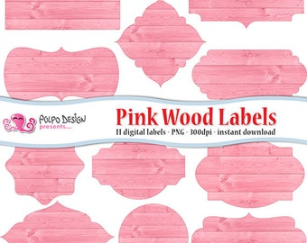 Pink wood digital labels clip art. Commercial & personal Use. Instant Download. clipart frames label tag pink coral baby its a girl peach.