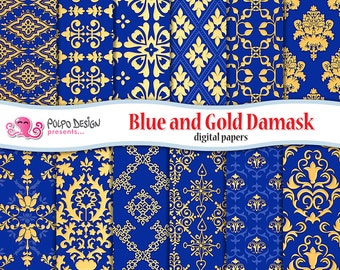 Blue and gold Ornamental and Damask digital papers. Commercial & Personal Use. Instant Download. paper scrapbook vintage golden metal royal.
