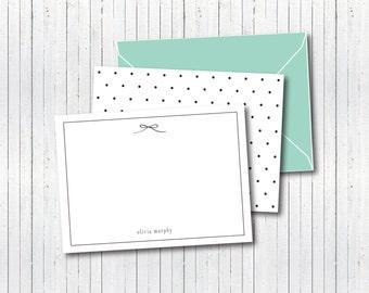 Aqua Bow and Polka Dot Stationary Set-10 cards & 10 matching envelopes - classy stationary set - preppy polka dot and bow stationary