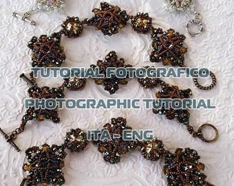 Schema per realizzare moduli per bracciali, orecchini, collane, incastonatura di rivoli swarovski con cristalli e perline