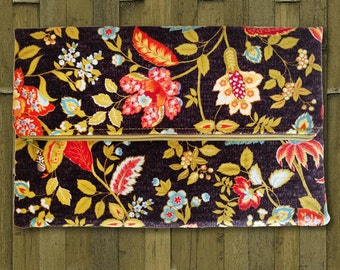 Fold Over Clutch, Zipper Clutch, iPad Case in Midnight Flowers - Made in Maui