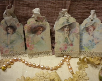 Shabby Chic Hanging Tags Victorian Women with Lace on Chipboard Die Cuts (4)