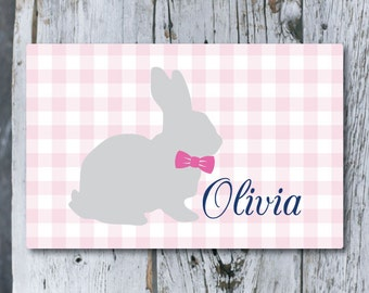 Personalized Laminated Placemat - Pink Gingham Bunny - Pink and Navy - Kids Placemat