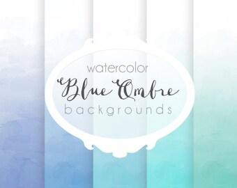 Blue Ombre Watercolor Digital Paper set  - 5 Digital Backgrounds - for Scrapbooking, Crafts, Invitations, Digital Scrapbooking