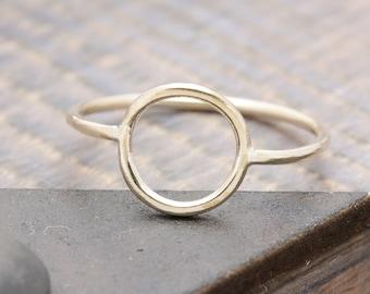 14 k gold filled open circle band ring, wedding gift, bridesmaid ring, promise ring.