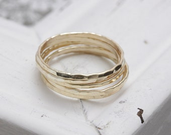 5 pcs14 k gold filled hammered stacking rings , 5 band rings