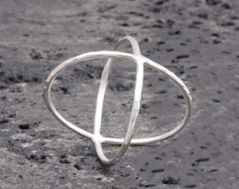 1.0 mm 925 stering silver hammered criss cross x ring