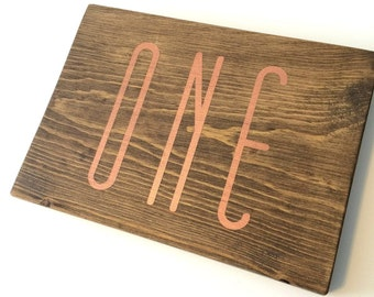 Wedding table numbers, copper numbers, copper wedding decor, wood table numbers