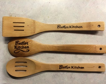 Custom Family Name Wood Burned Kitchen Utensils