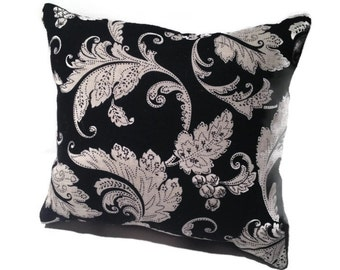 Decorative throw pillow, black onyx and natural white, floral design, home decor
