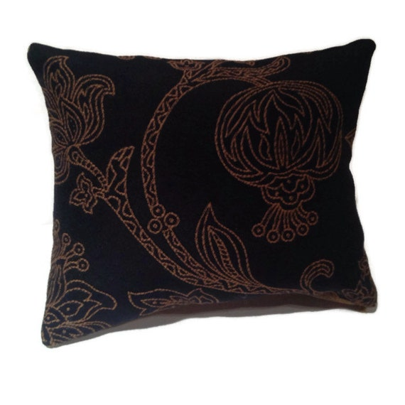 Black White And Gold Throw Pillows : Black and gold decorative throw pillow golden floral designs