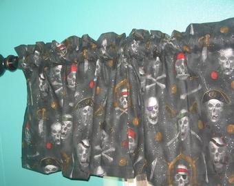 Gothic Skull Pirate Black  Window curtain  valance