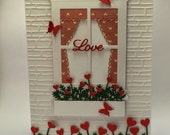 Handmade Love card | Window Card | Flowerbox | Hearts | Curtains | Butterflies | Love | Wedding | Engagement | Red | Flowers