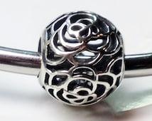 925 sterling silver round filigree flower European charm/Fits Pandora,Troll,Chamilia,Biagi charm bracelets-10mm -5mm hole size