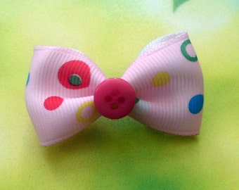 Pink Spotty, Single Bow Hair Clip
