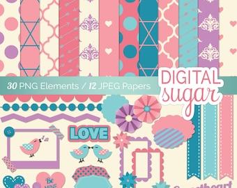 Digital Scrapbooking Kit with Digital Papers, Wedding Scrapbook, Printable Scrapbook Kit, Romantic
