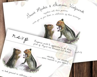 Woodland Wedding Invitation, watercolour and ink, printable wedding invite, squirrel wedding invitations, rustic, wedding invites