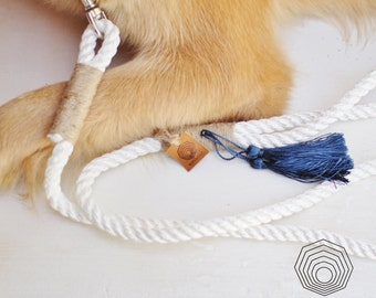 White Rope dog leash. Extra cute and stylish satin White Nautical rope leash with colorful Tassel.Blue-lilac-beige Tassel. Soft dog lead.