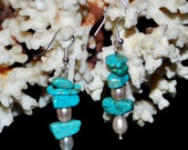 turquoise and genuine pearl earrings sterling silver,dangle,gift , statement earrings/turquoise chip earrings