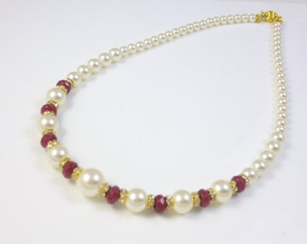 Ruby and Pearl Necklace, Ruby Necklace, Graduated Pearl Necklace, Bridal Jewelry