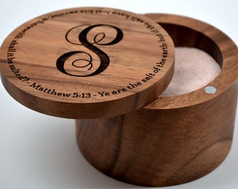 Personalized Acacia Wood Salt Keeper with Swivel Cover - Engraved - Monogramming Included in Price