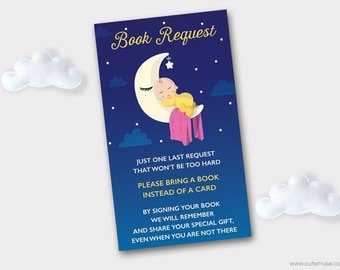 I Love you to the Moon and Back Book Request Printable, Baby Sleeping on the Moon, Bring a Book Instead of a Card, Insert, Instant Download