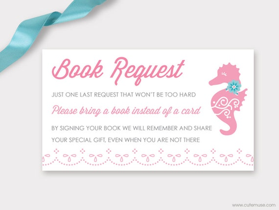 book request card baby shower printable seahorse baby shower baby