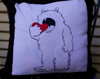 Heart Monster Pillow, Monster Decor, Pillow, nursery decor, monster art, monster, heart art, heart