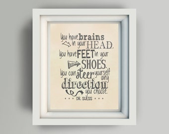 "Printable 8x10 ""You have brains in your head you have feet in your shoes you can steer yourself any direction you choose Dr Suess"" vintage"